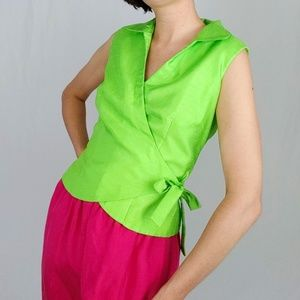 90's Lime green wrap top